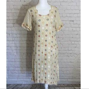 Vintage Cream and Floral Caftan Dress